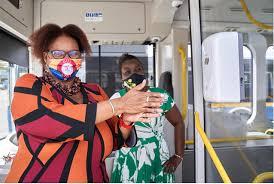 Hand sanitising dispenser unit on an electric bus